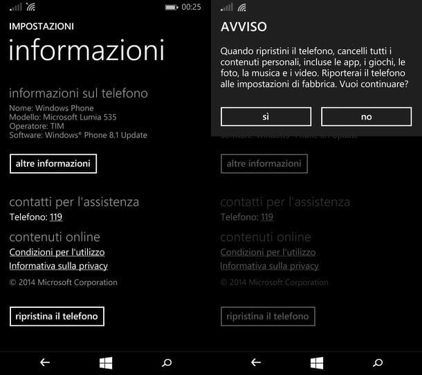 Come ripristinare Windows Phone