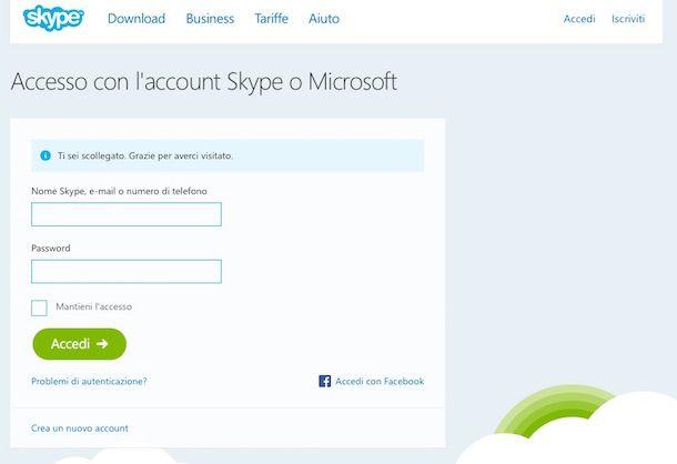 Screenshot di Skype