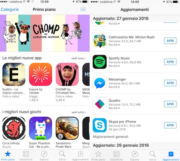 Screenshot che mostra come aggiornare Skype su iOS