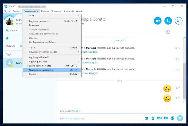 Screenshot di Skype su Windows