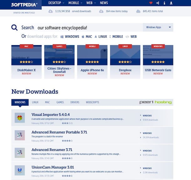 Screenshot di Softpedia