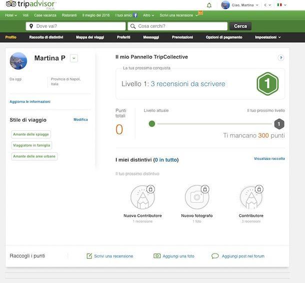 Screenshot di TripAdvisor
