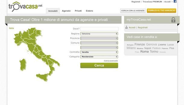 Screenshot di TrovaCasa.net