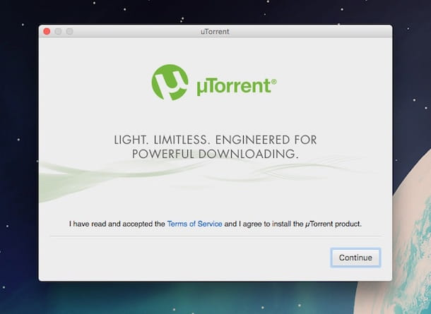 Screenshot di uTorrent su Mac