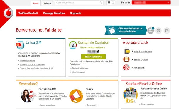 Screenshot dell'area clienti Vodafone online