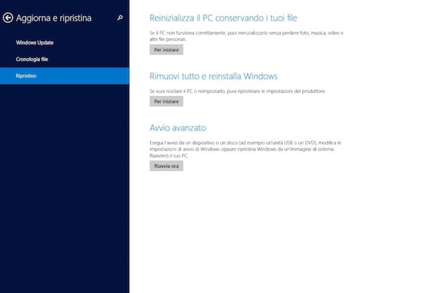 Screenshot che mostra come formattare Windows 8 senza CD