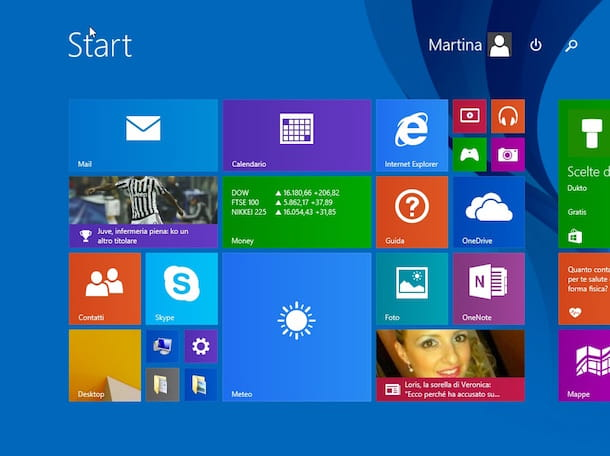 Screenshot della Start Screen di Windows 8