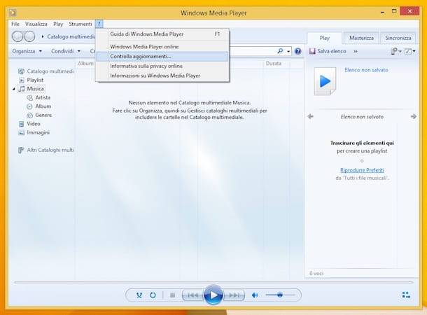Screenshot di Windows Media Player