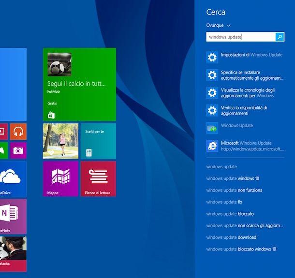 Screenshot di Windows Update su Windows 8