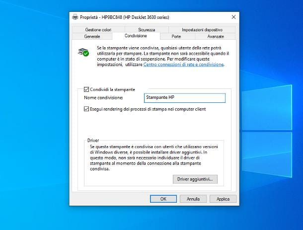 Come collegare stampante in rete Windows 10