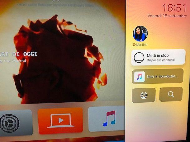 Funzione Metti in stop su Apple TV