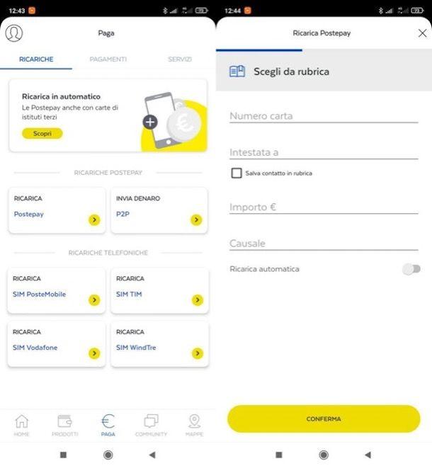 Ricaricare Postepay da app