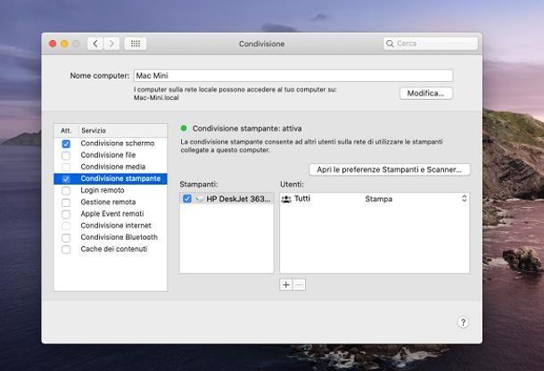 Come collegare stampante in rete Mac