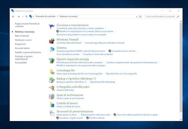 Screenshot del Pannello di controllo di Windows 10