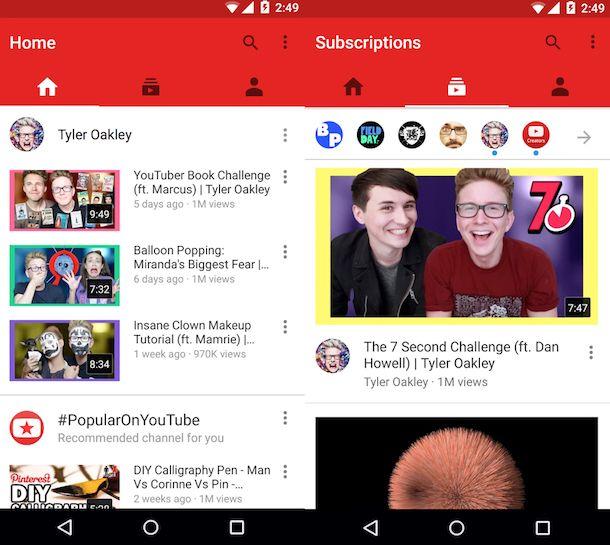 Screenshot dell'app YouTube