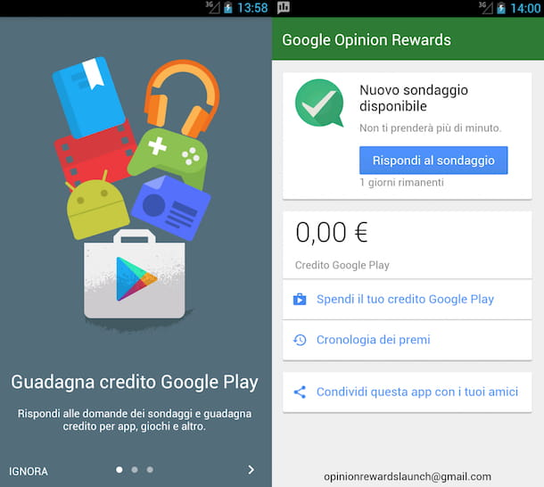 Screenshot dell'app Google Opinion Rewards