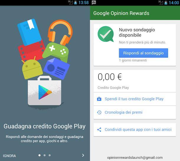 Screenshot dell'app Google Opinion Rewards