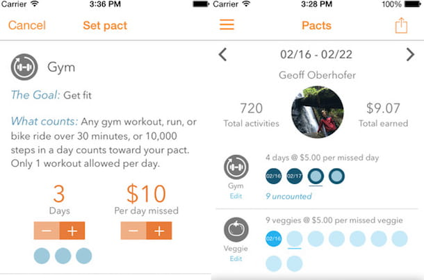 Screenshot dell'app GymPact
