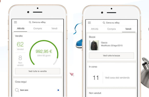 Screenshot dell'app eBay