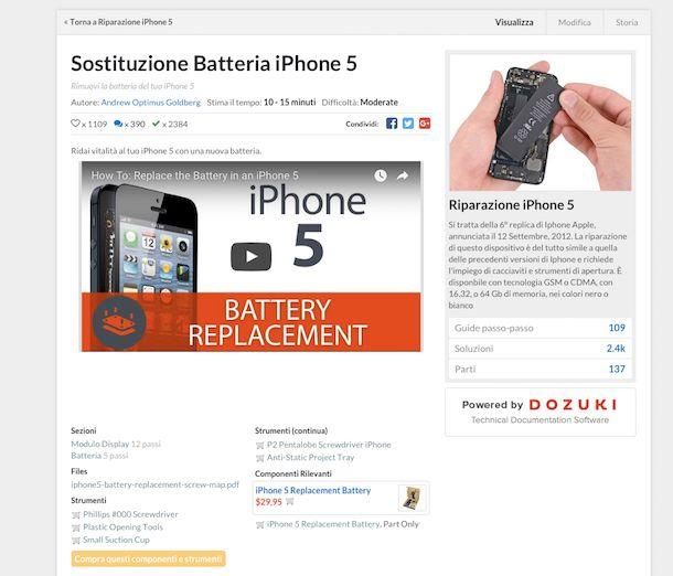 Screenshot che mostra come aprire iPhone 5