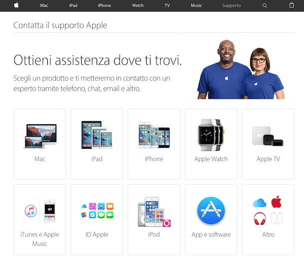 Screenshot assistenza Apple online