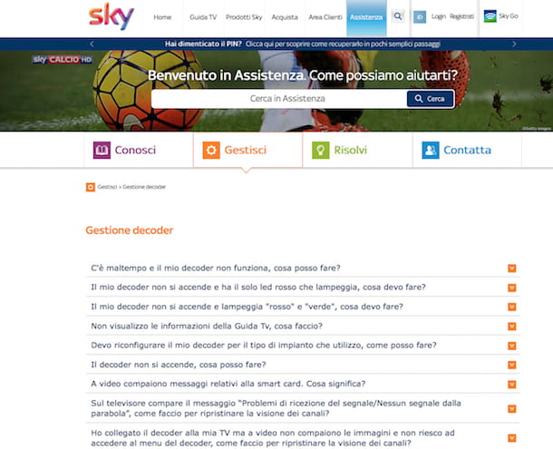 Screenshot della pagina di assistenza di Sky