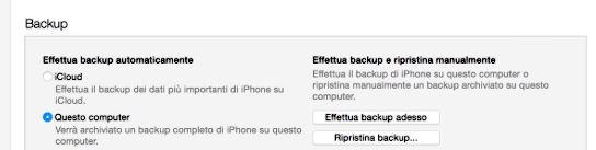 Screenshot che mostra come effettuare il backup su iPhone 4S