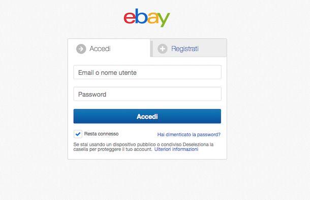Screenshot di eBay