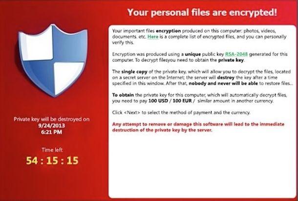 Screenshot di CryptoLocker