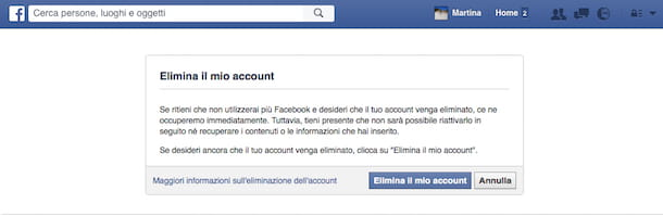 Screenshot che mostra come ci si toglie da Facebook