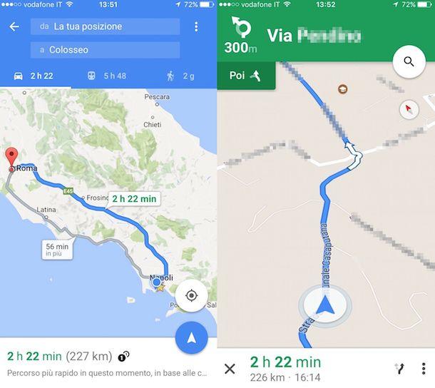 Screenshot di Google Maps su iPhone