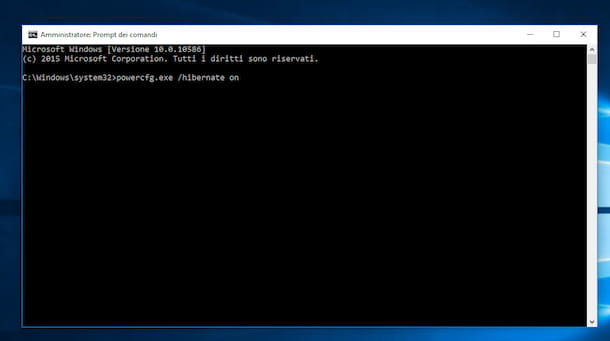 Screenshot che mostra come ibernare Windows 10