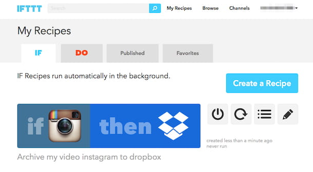 Screenshot di IFTTT