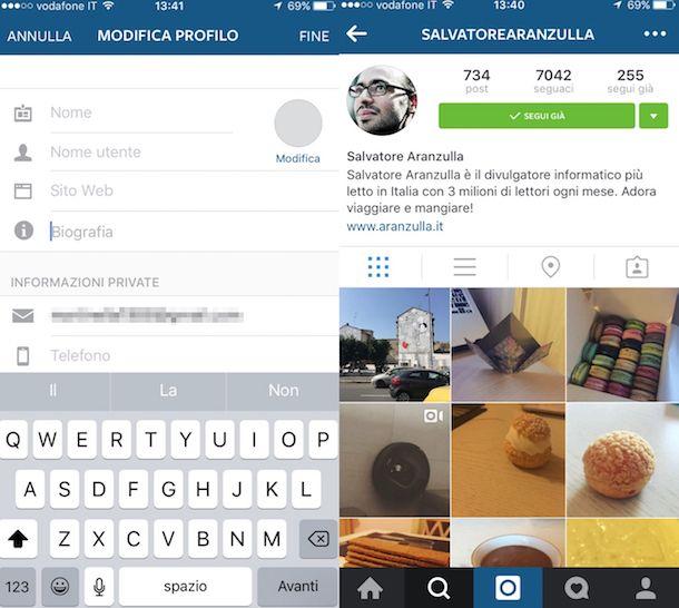Screenshot che mostra come ufficializzare un profilo Instagram