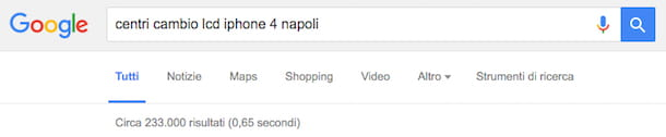 Screenshot di Google
