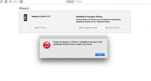 Screenshot che mostra l'iPhone in modalità DFU