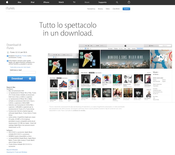 Screenshot della pagina di download di iTunes
