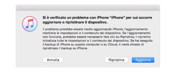 Screenshot avviso iTunes