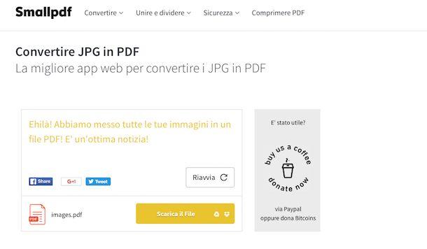 Screenshot che mostra come modificare JPG in PDF