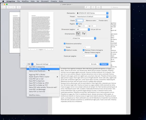 Screenshot che mostra come modificare JPG in PDF