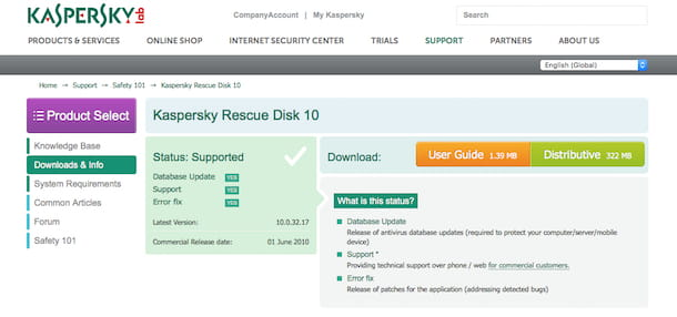 Screenshot di Kaspersky Rescue Disk