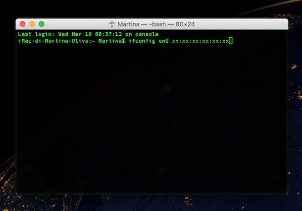 Screenshot che mostra come cambiare MAC address su OS X
