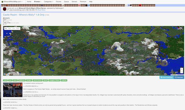Screenshot che mostra come scaricare mappe Minecraft