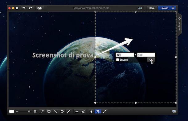 Screenshot di Monosnap su Mac