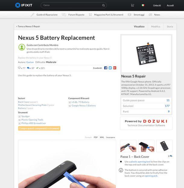 Screenshot che mostra come cambiare batteria Nexus 5