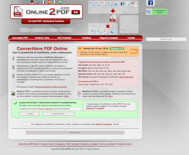 Screenshot di Online2PDF