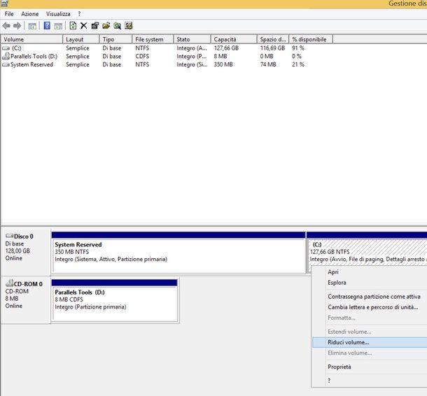 Come creare partizione windows 8