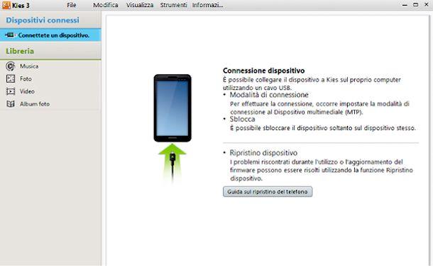 Screenshot che mostra come resettare tablet Samsung
