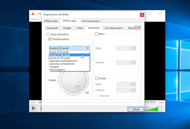 Screenshot che mostra come ruotare un video su PC