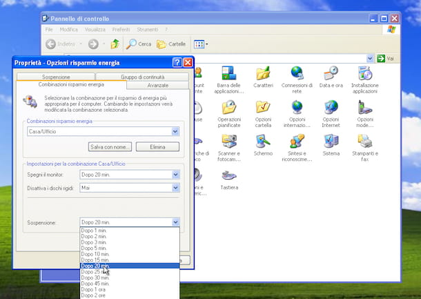 Screenshot che mostra come ibernare Windows XP